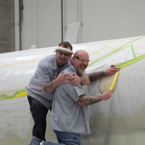 Our friends Kevin Groover & Ken Green / Learjet 75 Painting Process / Learjet / Wichita Kansas